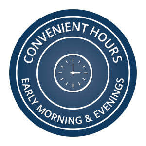Convenient Hours button Dr. Duane S. Shank, DDS Smithtown NY